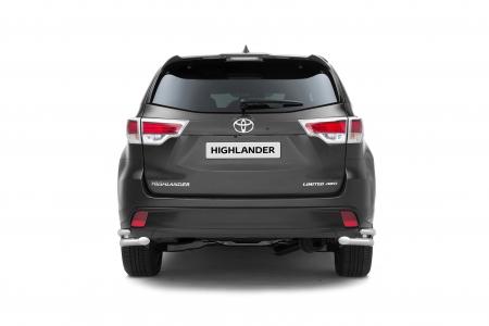 Защита заднего бампера двойная угловая d51/63мм Toyota Highlander (нерж) 2014